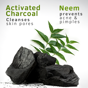 Activated Charcoal cleanses skin pores, Neem Prevents acne & pimples