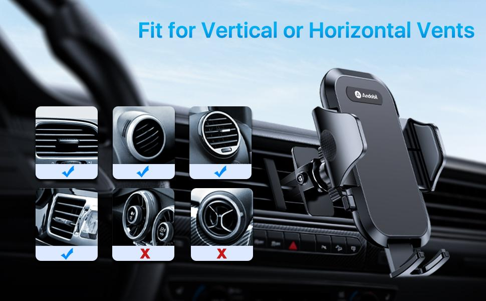 car phone holder for vertical or horizontal vents