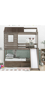 house bunk bed with slide