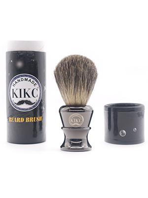 Kikc Men's Shaving Brush Handmade Real badger Hair with Gray Pure Metal Handle Beard Cleaning Brush