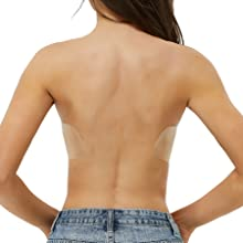 JUST BEHAVIOR Strapless Backless Sticky Invisible Push-up Self Adhesive Bras for Women
