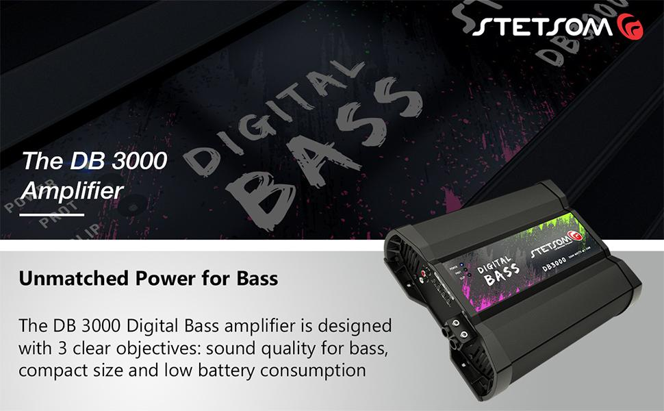 Stetsom DB 3000 Amplifier Power Bass Digital Sound Quality Compact Size Low Battery Consumption
