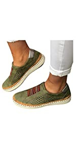 Walking Shoes for Women Hollow-Out Round Toe Slip On Loafers Sneakers