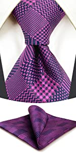 Purple Neckties for Men with Pocket Square