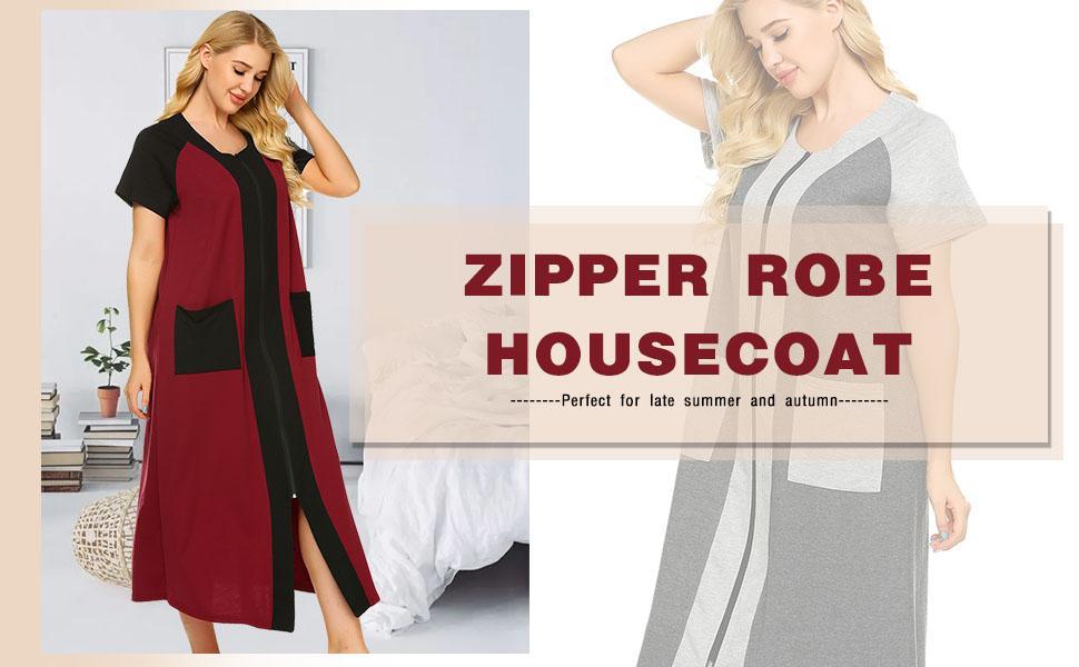 zipper robe for women ekoauer house coat