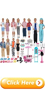 EuTengHao 90Pcs Doll Clothes and Accessories for Girl Doll Boy Doll Doctor Nurse Playset