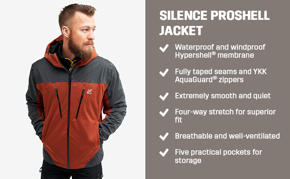 Waterproof and windproof, four-way stretch for superior fit, breathable and well-ventilated.