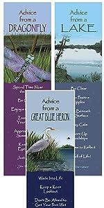 dragonfly, lake, great blue heron bookmarks