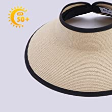 sun visors for women extra wide brim with sun protection SPF 50+ sun proof woven straw visors womens