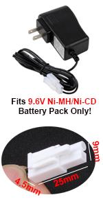 Replacement 9.6V Battery Charger for Ni-MH/Ni-CD Battery Packs with Mini-Tamiya plug