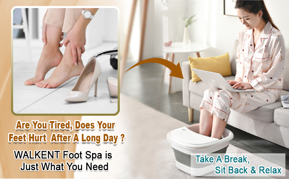 Walkent Foot Spa and Bubble Massager - Foldable Pedicure Tub to relax and remove fatigue