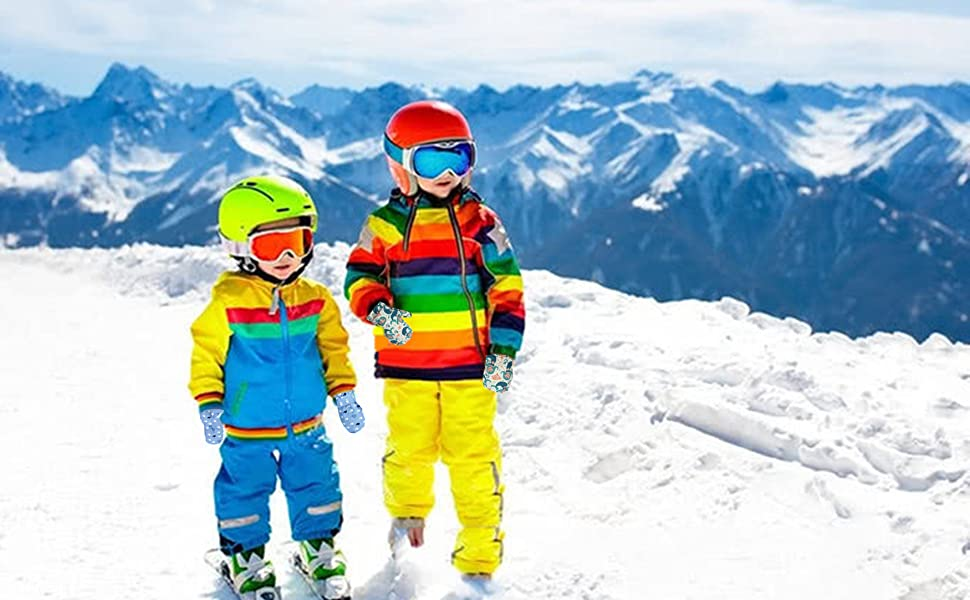 Baby Girls Waterproof Mittens Toddler Girls Winter Snow Gloves Kids Warm Ski Mittens Lined