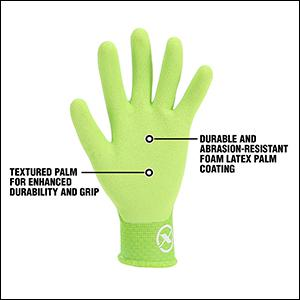 Textured palm for enhanced durability and grip durable; abrasion-resistant foam latex palm coating