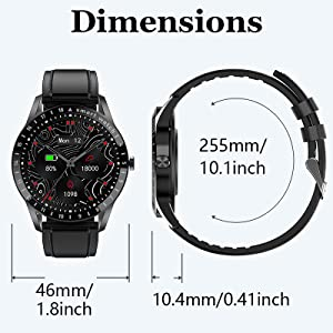 fitness watch for men with 1.39 inch AMOLED full touch screen, can fit most sizes of wrists
