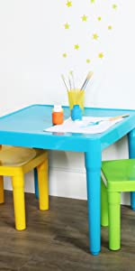 kids plastic table and 2 chairs set children furniture playroom organization