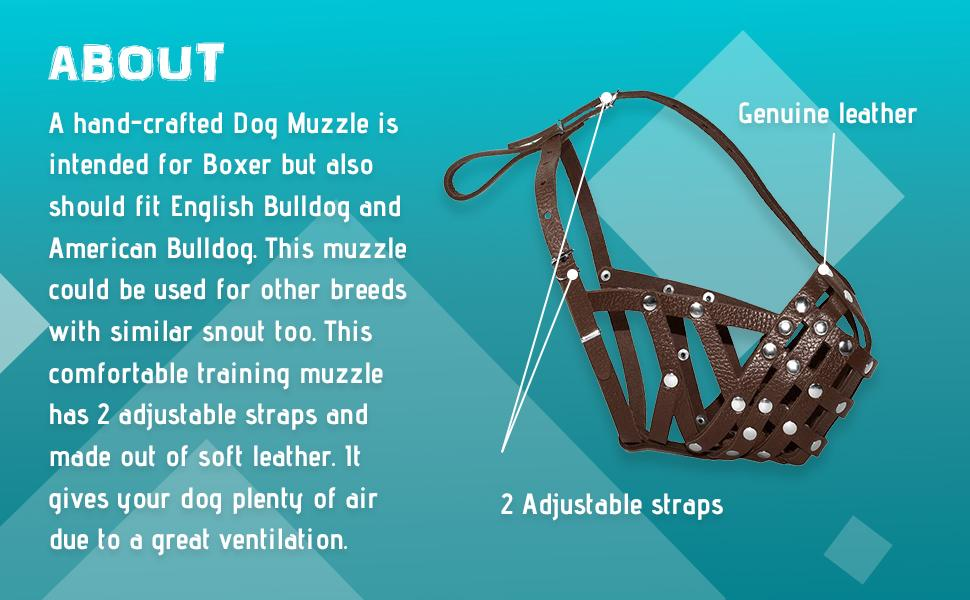 A Dog Muzzle is intended for Boxer but also should fit English Bulldog and American Bulldog
