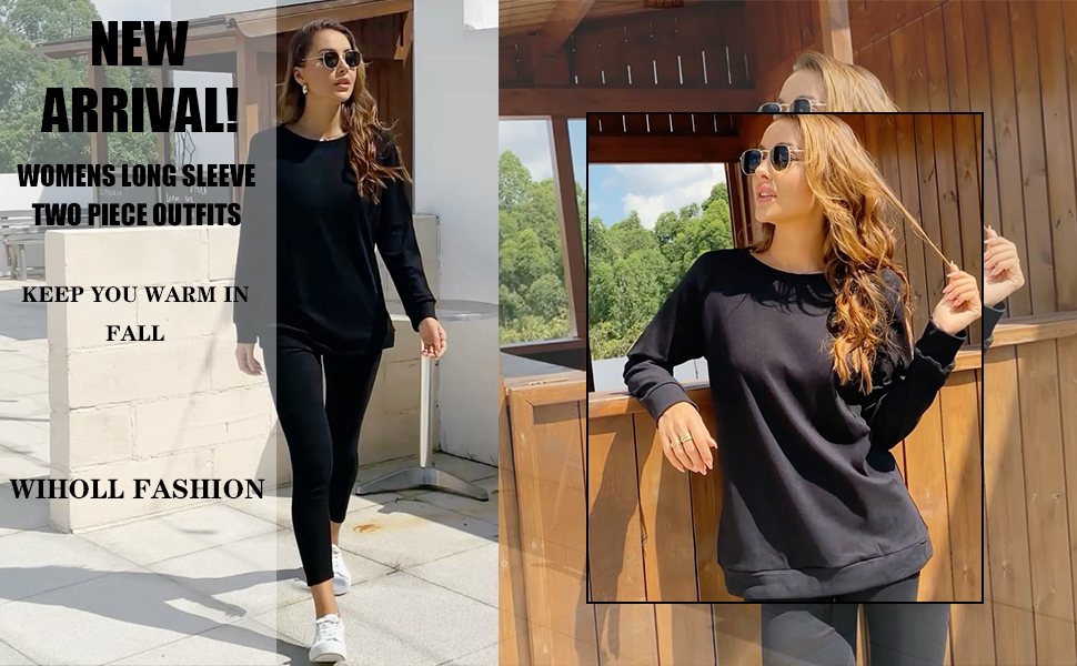 WIHOLL Two Piece Outfits for Women Long Sleeve