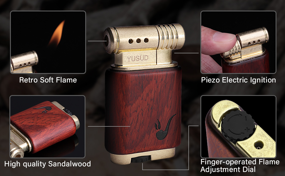 Yusud Vintage Trench Cool Pipe Lighter Butane Refillable Antique Soft Flame Table Unique Dad Men