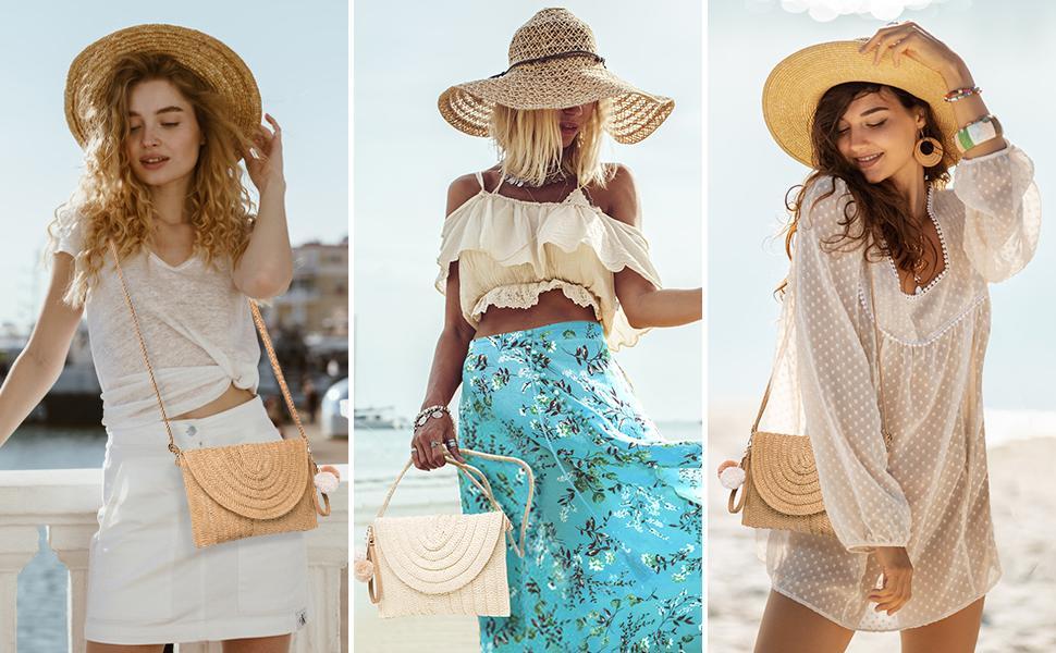Enjoy the beach with pompom straw bags!