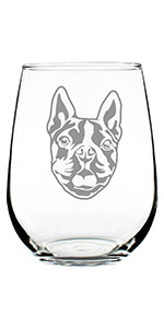 Design of an adorable Boston Terrier happy face, engraved onto a stemless wine glass