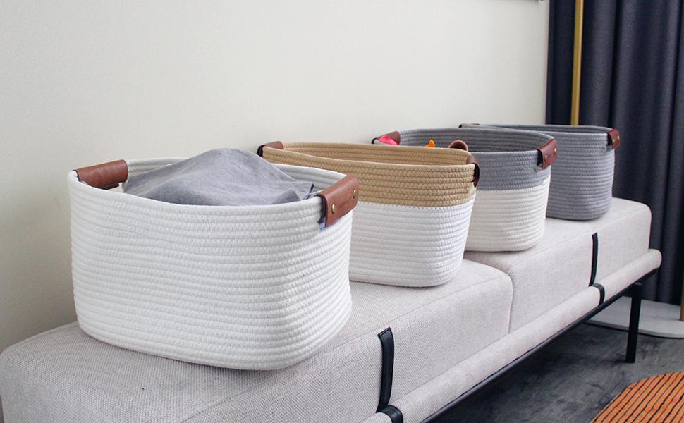 rectangle basket medium woven basket for storage bins rope basket set leather handles