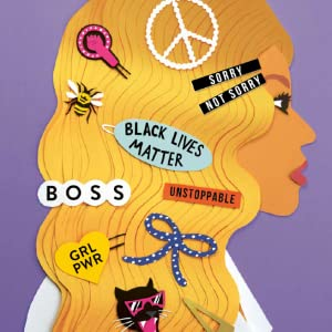 A person wearing barrettes in their hair with different sayings.