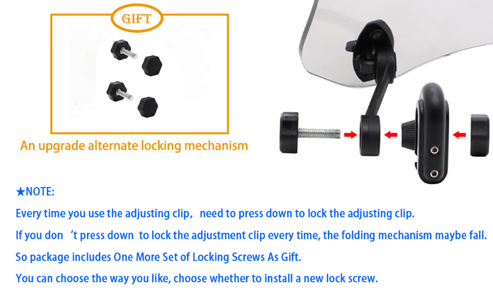 New Locking Screws with instructions