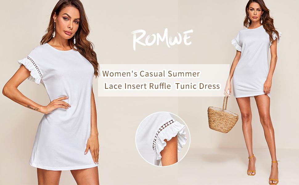 Summer Lace Insert Ruffle Short Sleeve Tunic Dress