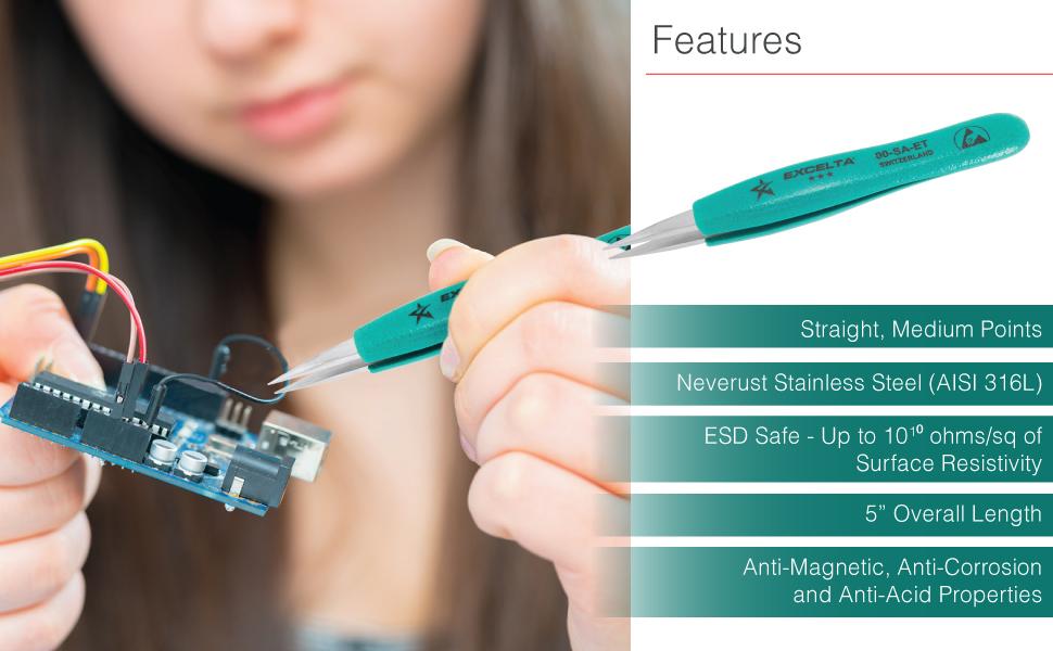 """Excelta Ergo-Tweeze Tweezer, Straight Strong Tips, ESD Safe Tweezers, 5"""" Overall Length"""