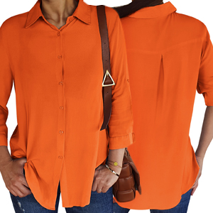Loose-fit comfort button down shirts for women