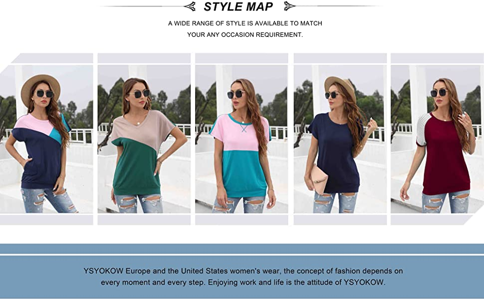 YSYOKOW Womens Summer Casual T Shirts Short Sleeve Blouses Tunic Tops with Pockets