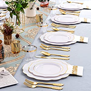 gold plates with disposable cutlery