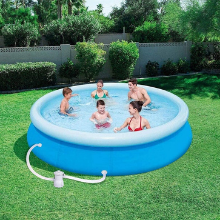 A family playing in a ground swimming pool