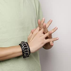 Eigso Black cool punk steampunk stainless steel goth o ring bracelet for men and women