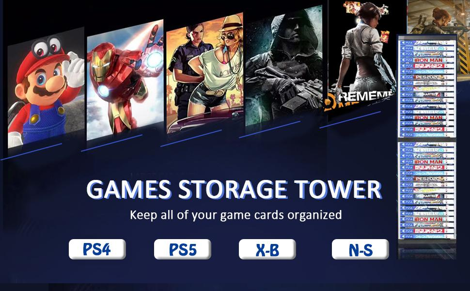 game box card storage tower