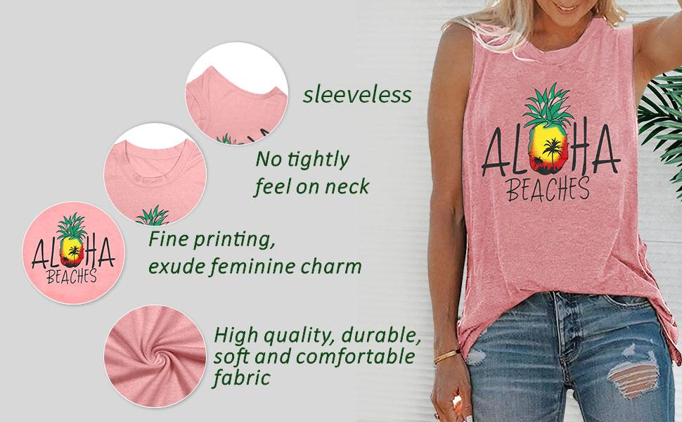aloha letter graphic tank tops