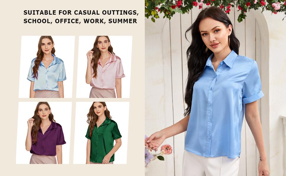 Milumia Women Elegant Short Sleeve Satin Shirt Button Up Solid Office Work Blouse Top