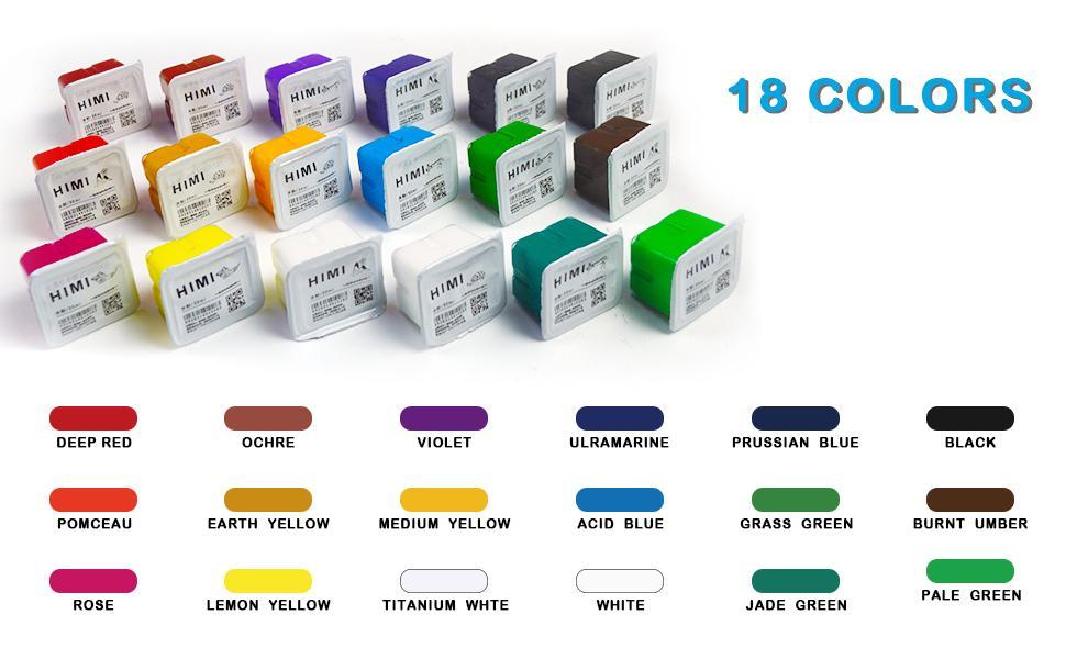 18 colors gouache paint