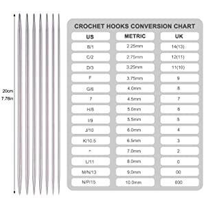 METRIC/US/UK Tableau de conversion de la taille des aiguilles à tricoter (référence)