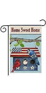Home Sweet Home Patriotic Birdhouse Garden Flag