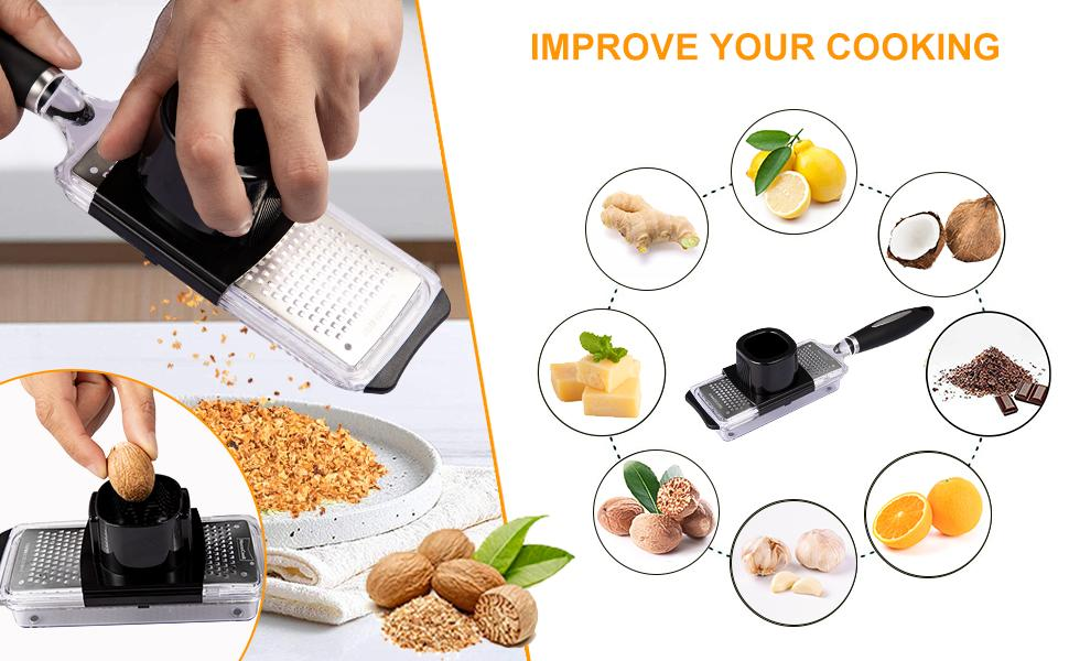 Grater with container is a perfect design,best cheese grater,nutmeg grater.