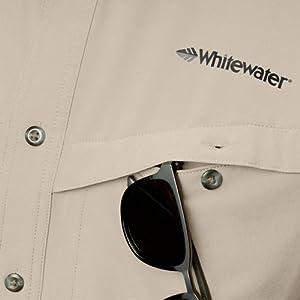 Whitewater Rapids Short Sleeve Fishing Shirt Storage Detail