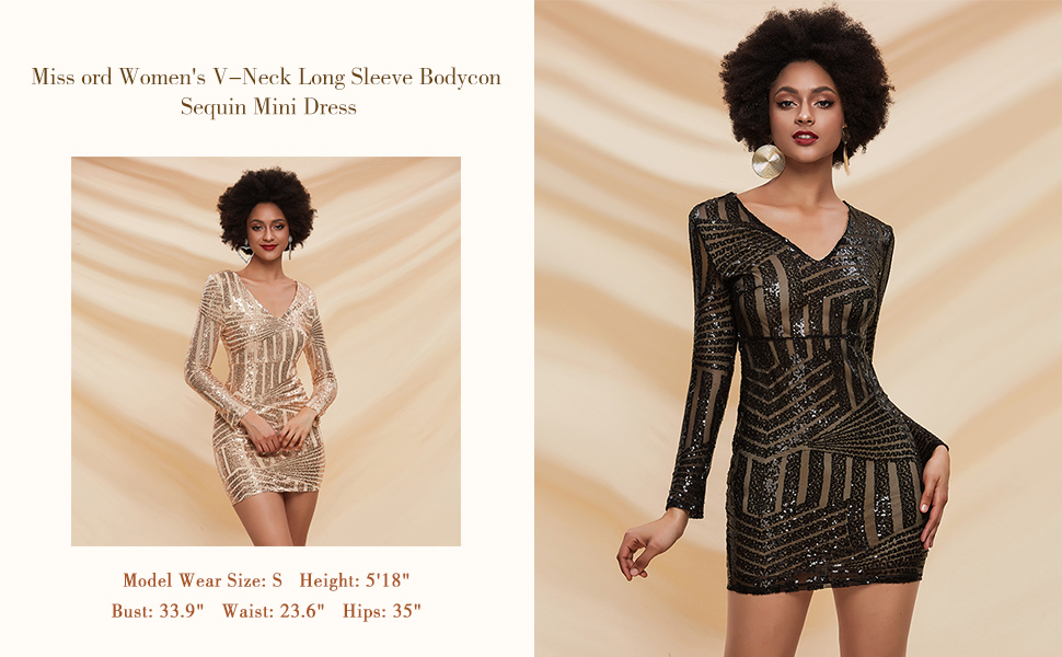 Women's V-Neck Long Sleeve Bodycon Sequin Mini dress