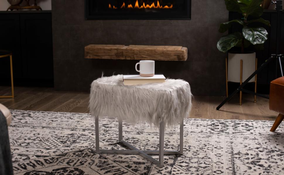 faux fur ottoman, rectangular ottoman, ottoman, home decor, seating, living room, ottoman stool