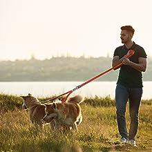 Kruz Double Dog Leash - Tangle Free Dog Walking and Training Dual Leash - Comfortable