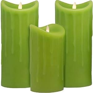 Fackelkerze Wachskerze grün 3er Set Gartenfackel Kerze
