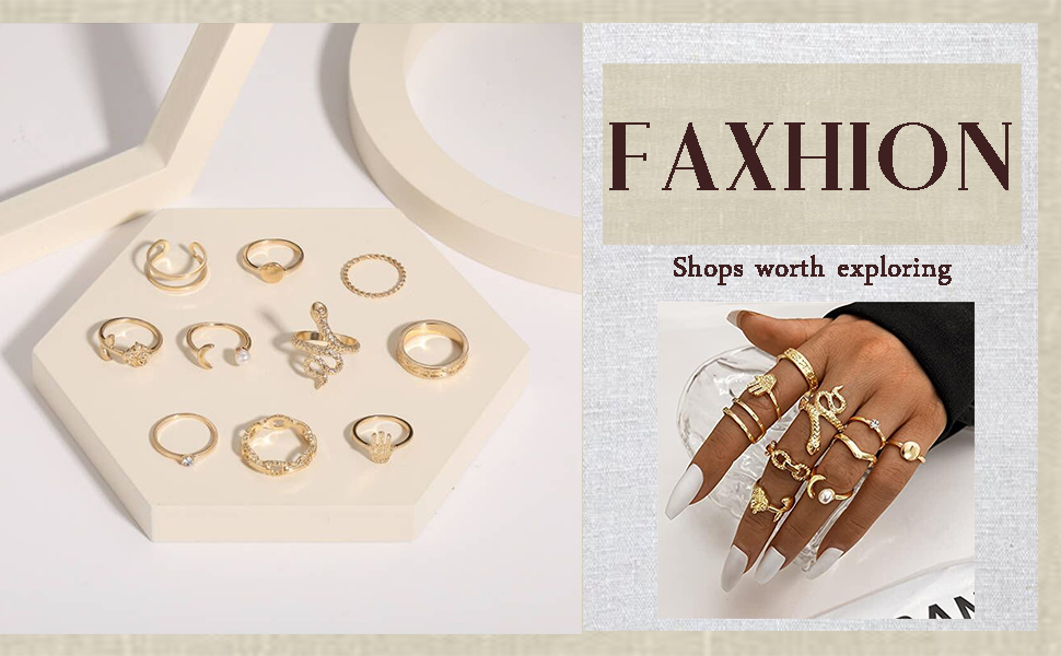 Gold Knuckle Rings Set