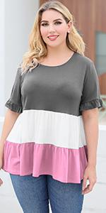 Nemidor Womens Plus Size Casual Color Block Layered Blouse Summer Tunic Tops
