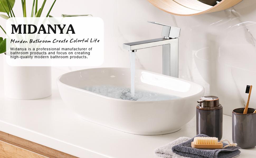 Midanya Brushed Nickel Vessel Sink Faucet