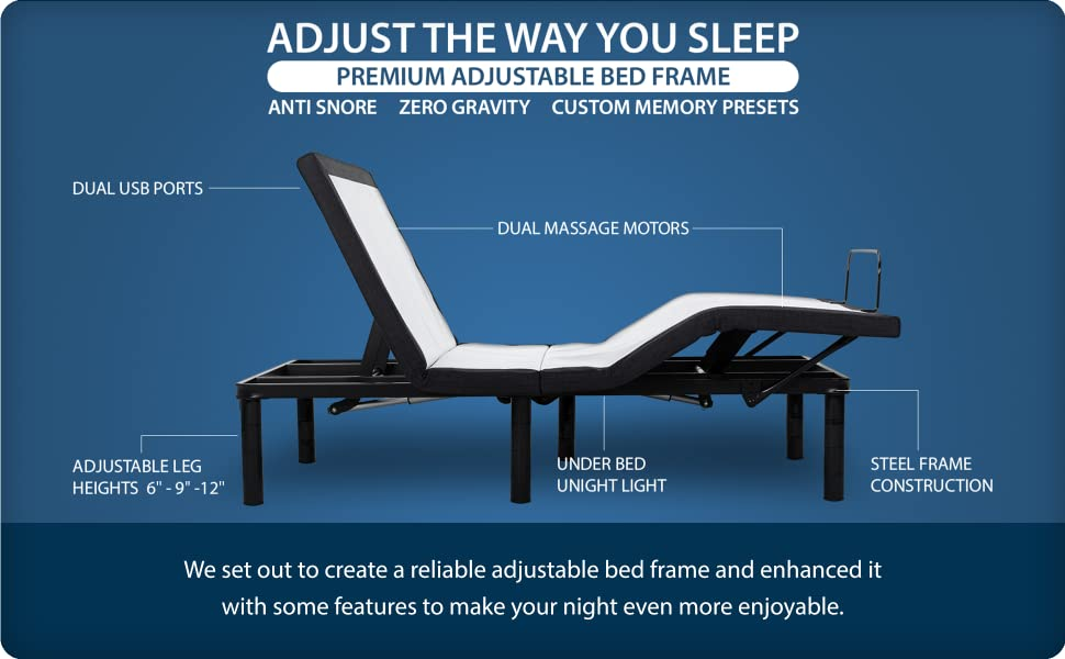 adjustable bed base with massage zero gravity usb nightlight wireless remote